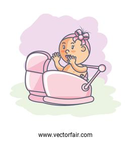 cute girl newborn in baby cart isolated icon