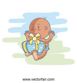 cute baby boy and gift box