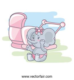 cute female elephant baby animal in baby cart