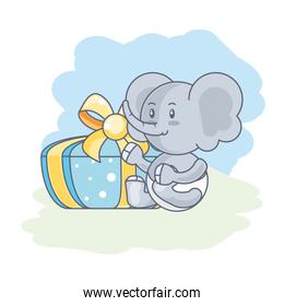 cute elephant baby with gift box