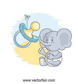 cute elephant baby animal and pacifier
