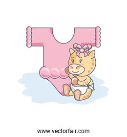pretty female giraffe baby animal and clothes for baby