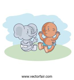 cute elephant with baby boy isolated icon