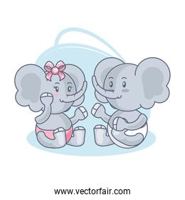 cute elephants baby animals isolated icon