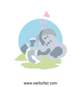 cute elephant baby with hearts love