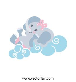 cute female elephant baby animal and clouds