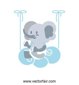 cute elephant baby animal and cloud