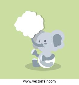 poster with cute elephant baby animal