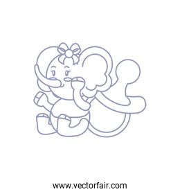 cute female elephant baby and pacifier