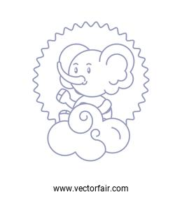 seal with cute elephant baby animal and cloud