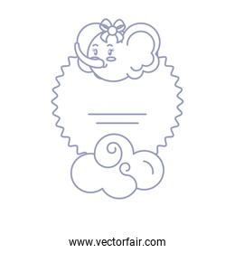 card with head of female elephant baby and cloud