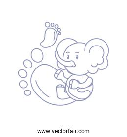cute elephant baby and footprints decoration