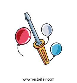 screwdriver tool handle with balloons helium