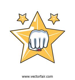hand fist power female with set of stars