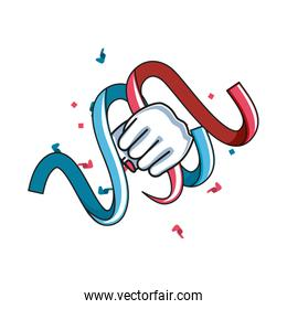 ribbon decoration with hand fist power female