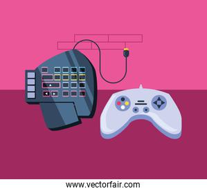 video game control with audio console over pink wall
