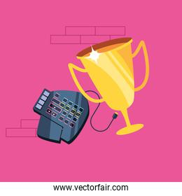 trophy cup award with keypad hardware
