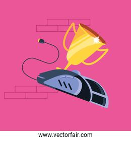 trophy cup award with mouse