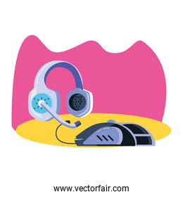 headset audio communicator with mouse