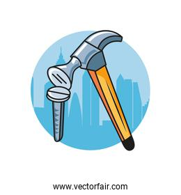 screw fixing with hammer tools isolated icon