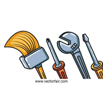 set tools with paint brush