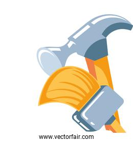 hammer with paint brush tool