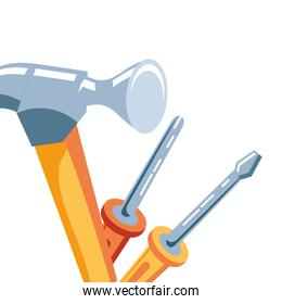 hammer with screwdrivers tools isolated icon