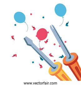 set of screwdrivers tools with balloons helium