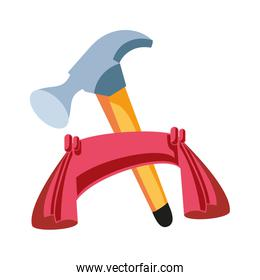 hammer tool with ribbon isolated icon