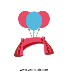 balloons helium air with pink ribbon