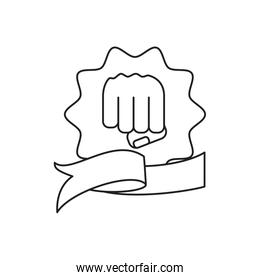 hand fist power in seal isolated icon
