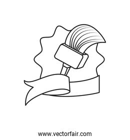 paint brush in seal stamp with ribbon line style