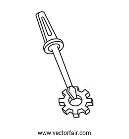 screwdriver tool with gear pinion isolated icon