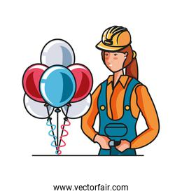 female builder with balloons helium labor day celebration