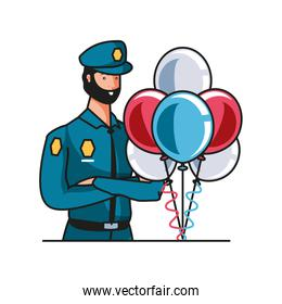 police officer worker with balloons helium labor day celebration