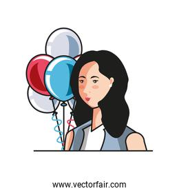 businesswoman with balloons helium labor day celebration