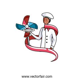 female chef worker with wind toy labor day