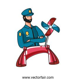 police officer worker with wind toy labor day celebration