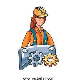 female builder with label metal labor day celebration