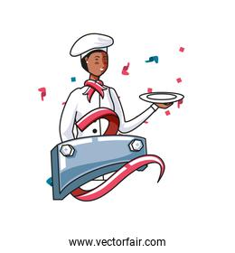 female chef worker with metal label labor day