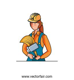 female builder worker with paint brush avatar character