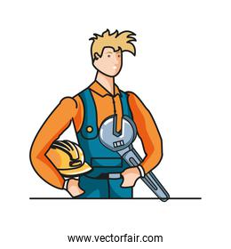 smiling builder constructor worker with wrench key