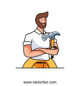 young firefighter worker with hammer avatar character