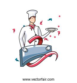 professional chef worker with label metal labor day celebration