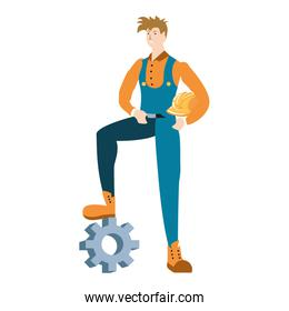 builder constructor worker with gear character