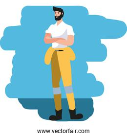 young firefighter worker avatar character