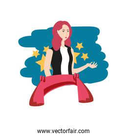 elegant businesswoman worker with ribbon avatar character