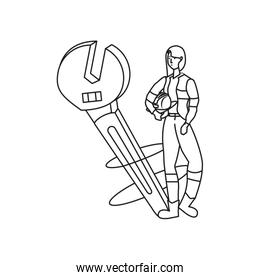 female builder worker with wrench
