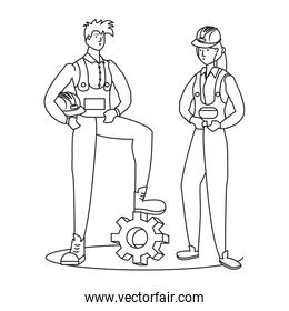 isolated couple of builders workers avatars characters