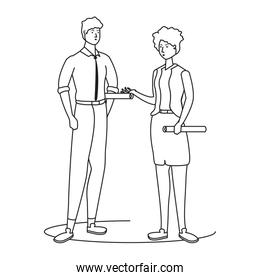 elegant business couple worker avatars characters